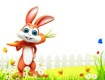 Easter bunny with carrot on green grass. 3d rendered illustration of  easter bunny with carrot on green grass Stock Photo