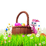 Pink easter bunny climbing to the big eggs basket Royalty Free Stock Image