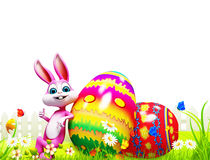 Easter bunny with colorful eggs Stock Photo