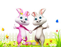 Easter bunny inside the garden Royalty Free Stock Images