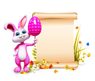 Easter bunny with pink egg and big sign. 3d rendered illustration of Easter bunny with pink egg and big sign Stock Images