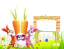 Easter bunny with wooden sign and carrot. 3d rendered illustration of Easter bunny with wooden sign and carrot Stock Photography