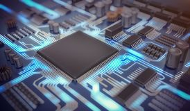 3D rendered illustration of electronic circuit with microchips and glowing signals.  Royalty Free Stock Image