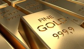 3D rendered illustration of gold bar. Finance and investment concept.  Royalty Free Stock Photo