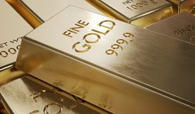 3D rendered illustration of gold bar. Finance and investment concept.  Royalty Free Stock Image