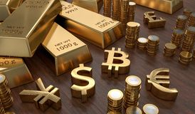 3D rendered illustration of gold bars and golden currency symbols. Stock exchange and banking concept.  Royalty Free Stock Photos