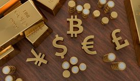 3D rendered illustration of gold bars and golden currency symbols. Stock exchange and banking concept.  Stock Photography