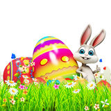 Gray Easter bunny with big colorful eggs Royalty Free Stock Photography