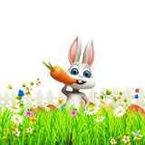 Gray easter bunny with carrot on flowers. 3d rendered illustration of Gray easter bunny with carrot on flowers Stock Photography
