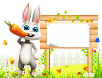 Gray easter bunny with flowers and sign. 3d rendered illustration of gray easter bunny with flowers and sign Royalty Free Stock Photo