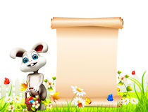 Gray Easter bunny with sign and basket Royalty Free Stock Images