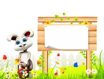 Gray Easter bunny with sign and eggs basket Royalty Free Stock Photos