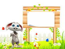 Gray easter bunny with white sign Stock Images