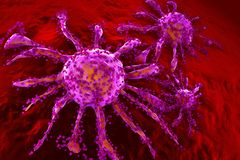 A growing Cancer cell spreading on healthy Tissue stock photography