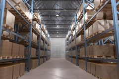 3D rendered illustration of interior of distribution warehouse Stock Photo