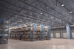 3D rendered illustration of interior of distribution warehouse Royalty Free Stock Photography