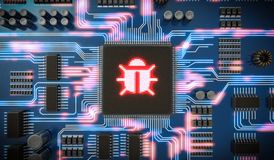 3D rendered illustration of malware or virus inside microchip on electronic circuit. Internet security. Stock Photos