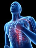 Pain in the chest. 3d rendered illustration of a man having pain in the chest stock illustration