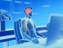 Visible brain and nerves. 3d rendered illustration of a man working on a pc - visible brain and nerves vector illustration