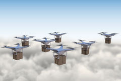3D rendered illustration of many drones flying above the clouds Stock Photo