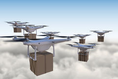 3D rendered illustration of many drones flying above the clouds and delivering packages Royalty Free Stock Photo