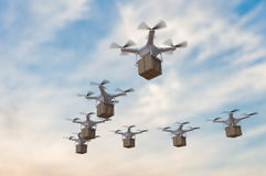 3D rendered illustration of many drones flying in the sky and delivering packages Royalty Free Stock Photography