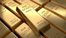 3D rendered illustration of many gold bars. Investment and economics concept.  Royalty Free Stock Photography