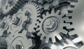 3D rendered illustration of metallic gears and cogs Royalty Free Stock Photography