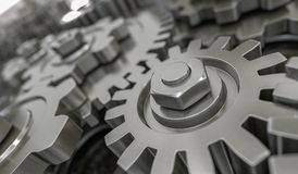 3D rendered illustration of metallic gears and cogs Stock Photos