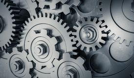 3D rendered illustration of metallic gears and cogs Stock Photo