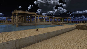 God Ra palace. 3D rendered illustration of monumental palace Egyptian god RA Stock Photo