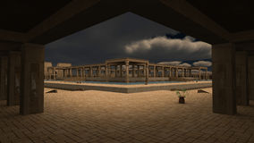 God Ra palace. 3D rendered illustration of monumental palace Egyptian god RA Stock Photography