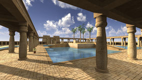 God Ra palace. 3D rendered illustration of monumental palace Egyptian god RA Stock Images