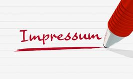"The word ""Impressum"" in german red underlined vector illustration"