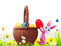 Pink bunny dropping eggs Stock Photos