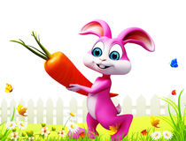 Pink Easter bunny with big carrot. 3d rendered illustration of Pink Easter bunny with big carrot Royalty Free Stock Photo