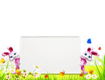 Pink easter bunny on both side of sign Royalty Free Stock Photos