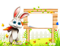 Gray easter bunny with carrot and big wooden sign. 3d rendered illustration of pink easter bunny with carrot and big wooden sign Royalty Free Stock Photo