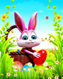 Pink easter bunny with eggs basket Royalty Free Stock Photo