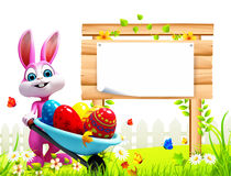 Pink easter bunny with eggs trolley and sign Stock Photography