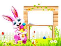 Pink easter bunny with white sign and eggs Stock Image