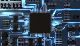 3D rendered illustration of processor or microchip on electronical circuit. View from top Stock Photos