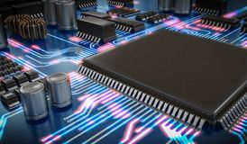 3D rendered illustration of processor or microchip and glowing signals. Technology concept Stock Photo