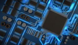 3D rendered illustration of processor or microchip. View from top Stock Photos