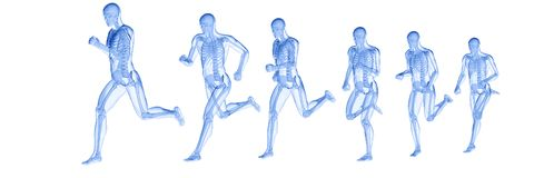A running mans skeleton stock illustration