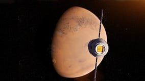 A satelite. 3d rendered illustration of a satelite infront of mars stock illustration