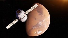 A satelite. 3d rendered illustration of a satelite infront of mars vector illustration