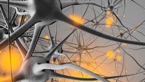3D rendered Illustration of Signal transmission in a Neuronal royalty free stock photography