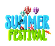 3D Rendered Illustration of Summer Festival Word Title. In White Background for Promotional with Flying Balloons, Colorful Umbrella, Beach Ball, Starfish and Royalty Free Stock Image
