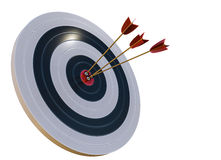 3D rendered illustration of target with arrows. Isolated on white background.  Stock Images